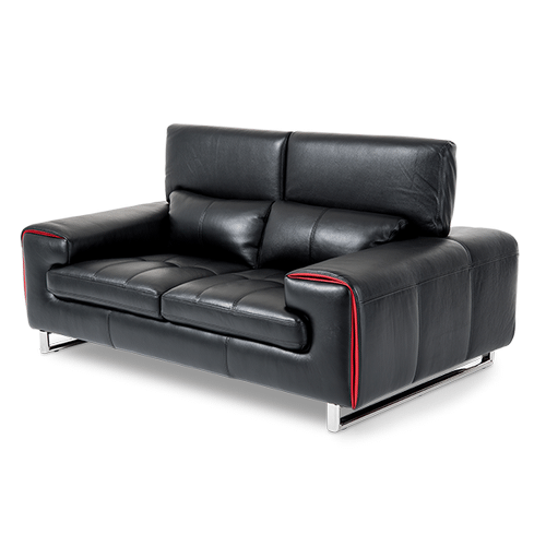 Magrena Leather Loveseat in Black w/Red St.Steel