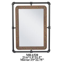 "23.75X1.5X31.5"" METAL WITH WOOD WALL MIRROR, 1 PC PK/2.69'"