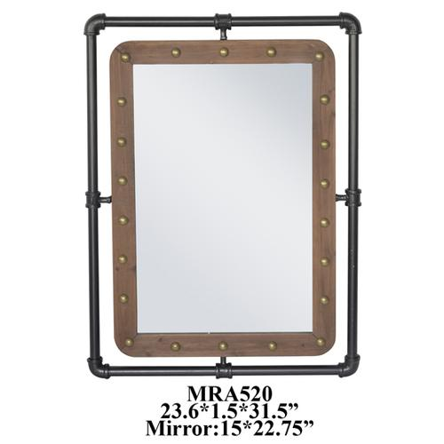 """Crestview Collections - 23.75X1.5X31.5"""" METAL WITH WOOD WALL MIRROR, 1 PC PK/2.69'"""