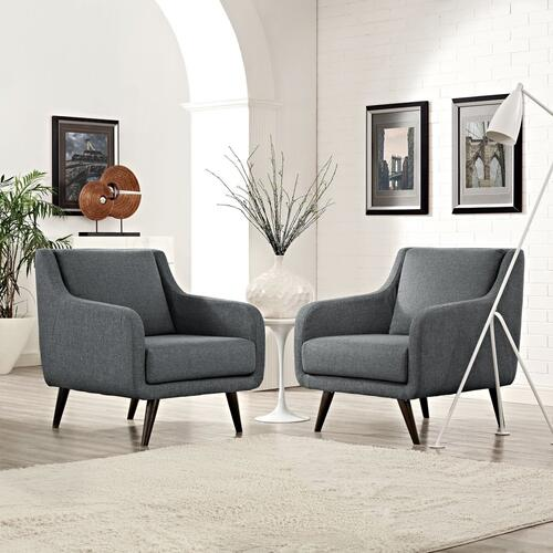 Modway - Verve Armchairs Set of 2 in Gray