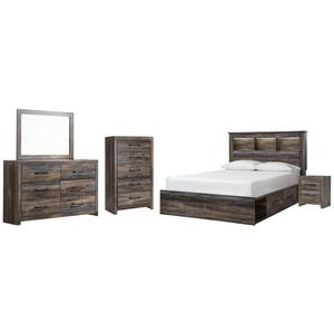Ashley - Queen Bookcase Bed With 2 Storage Drawers With Mirrored Dresser, Chest and Nightstand
