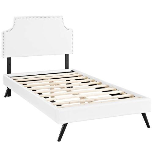 Corene Twin Vinyl Platform Bed with Round Splayed Legs in White