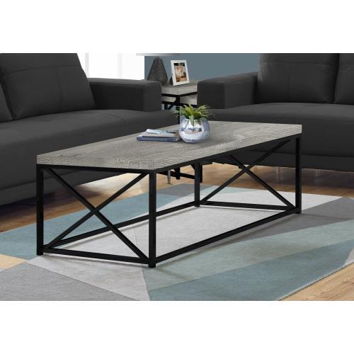 Gallery - COFFEE TABLE - GREY RECLAIMED WOOD-LOOK/ BLACK METAL