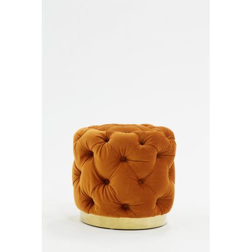 Divani Casa Duarte Modern Orange Velvet Ottoman