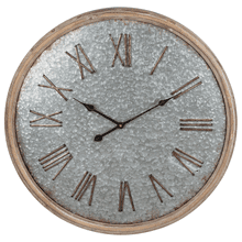 Natural Wood Frame Galvanized Wall Clock