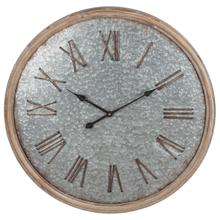 Natural Wood Frame Galvanized Wall Clock