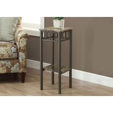 ACCENT TABLE - ESPRESSO MARBLE / BRONZE METAL