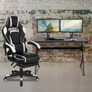 Black Gaming Desk with Cup Holder\/Headphone Hook\/2 Wire Management Holes & White Reclining Back\/Arms Gaming Chair with Footrest Product Image