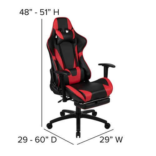 Gallery - Black Gaming Desk and Red\/Black Footrest Reclining Gaming Chair Set with Cup Holder, Headphone Hook, & Monitor\/Smartphone Stand