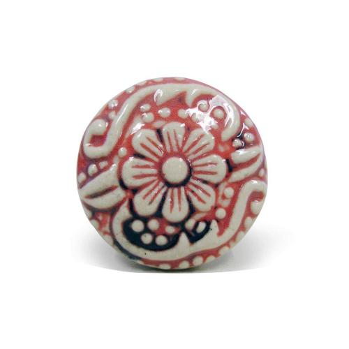 Epicureanist Red and White Floral Ceramic Bottle Stopper