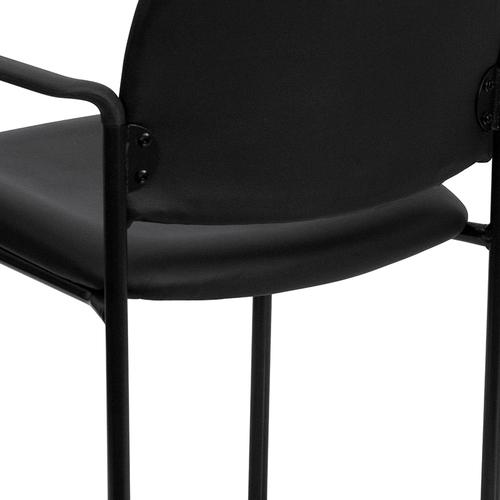 Gallery - Comfort Black Vinyl Stackable Steel Side Reception Chair with Arms