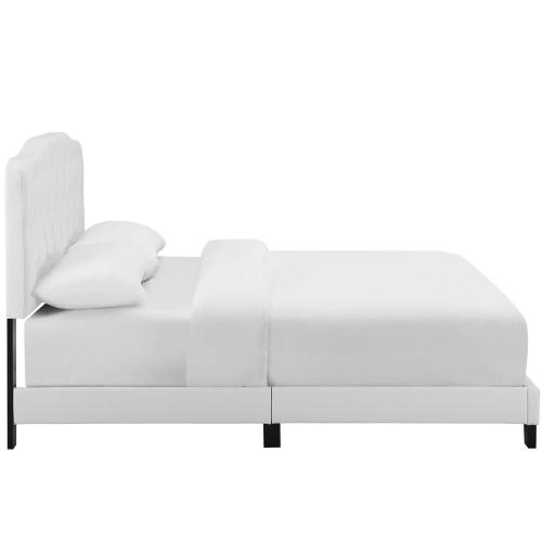 Amelia Queen Faux Leather Bed in White