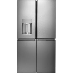 Café ENERGY STAR ® 27.4 Cu. Ft. Smart Quad-Door Refrigerator in Platinum Glass