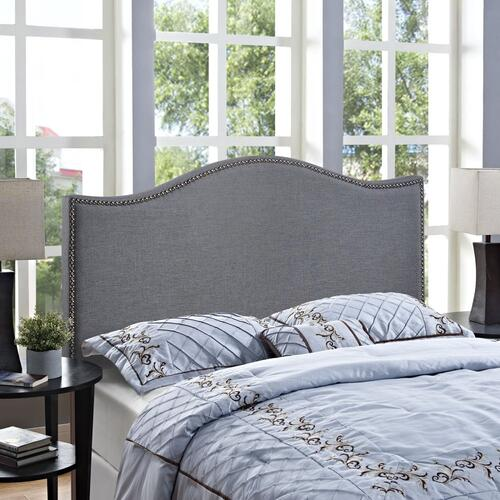 Curl Queen Nailhead Upholstered Headboard in Smoke