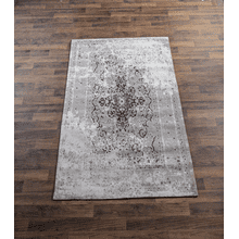 Tan & Grey Antique Wash Medallion 5' x 8' Jacquard Rug