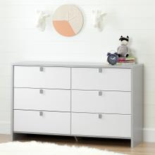 6-Drawer Double Dresser - Soft Gray and Pure White