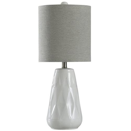 Halifax Ceramic  26in Eclectic Transitional Diamond Cut Design Table Lamp  Grey Fabric Shade  100