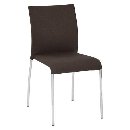 Conway Stacking Chair In Chocolate Fabric, Fully Assembled, 4-pack