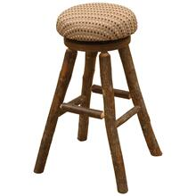 "Round Barstool - 30"" high - Natural Hickory - Customer Fabric"