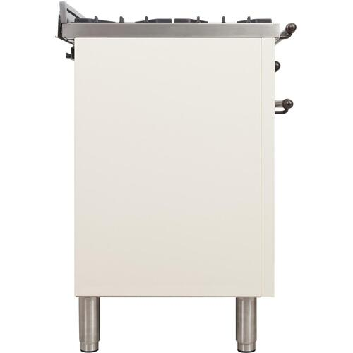 Nostalgie 36 Inch Dual Fuel Natural Gas Freestanding Range in Antique White with Bronze Trim