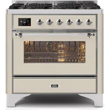 Majestic II 36 Inch Dual Fuel Natural Gas Freestanding Range in Antique White with Chrome Trim