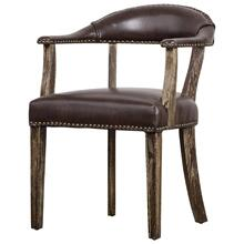Bernadette Bonded Leather Chair Drift Wood Legs, Vintage Coffee