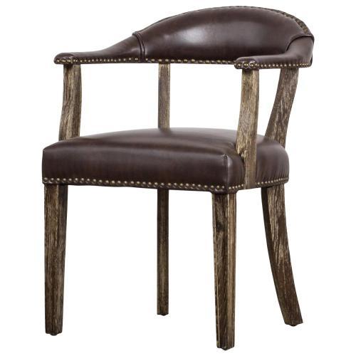 Bernadette Bonded Leather Arm Chair Drift Wood Legs, Vintage Coffee