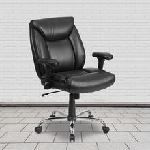 View Product - HERCULES Series Big & Tall 400 lb. Rated Black LeatherSoft Deep Tufted Ergonomic Task Office Chair with Adjustable Arms
