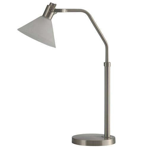 Brushed Steel  Adjustable Height Metal Task LED Lamp with Glass Shade