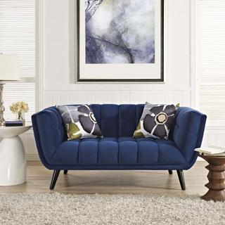 Bestow Performance Velvet Loveseat in Navy