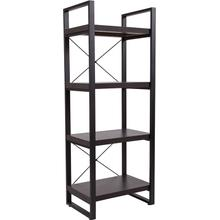 "Thompson Collection 4 Shelf 62""H Etagere Bookcase in Charcoal Wood Grain Finish"