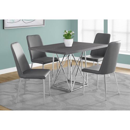 "DINING TABLE - 36""X 48"" / GREY / CHROME METAL"