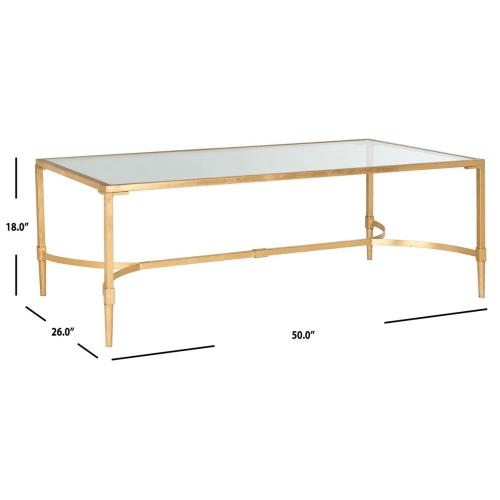 Antwan Coffee Table - Gold / Tempered Glass Top