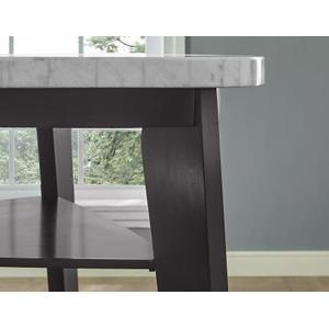 Carrara 6 Piece Triangular Marble Top Counter Table(Counter Table, 4 Counter Chairs & Storage Counter Bench)