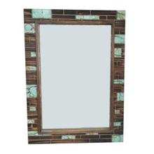 Rustic Turquoise Inlay Wooden Mirror