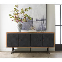 Coco Rustic Oak Wood and Leather Sideboard Cabinets