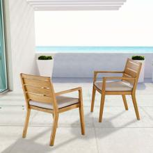 Portsmouth Outdoor Patio Karri Wood Armchair Set of 2 in Natural Taupe