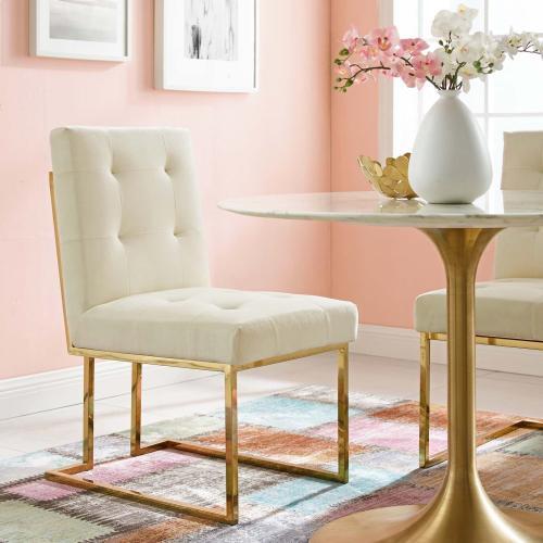 Privy Gold Stainless Steel Performance Velvet Dining Chair in Gold Ivory