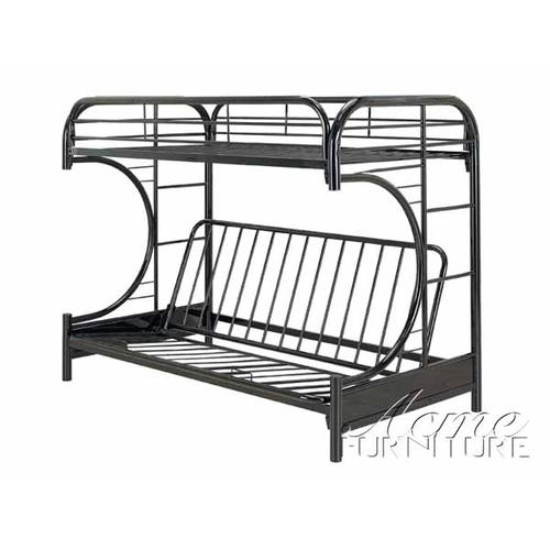 Gallery - Black Finish Twin/Full Futon & Bunk Bed with Matts
