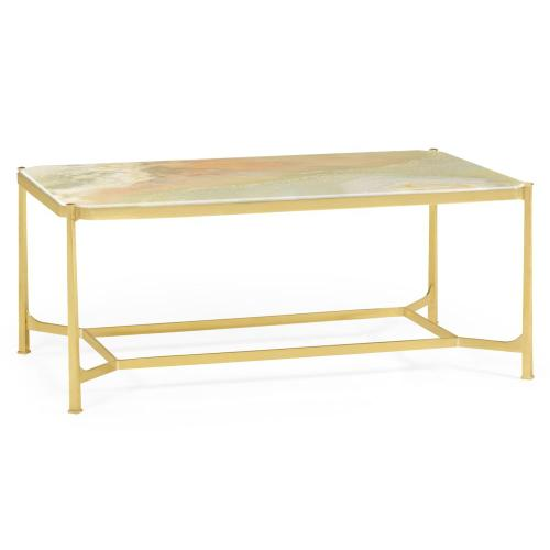 Green Onyx marble & polished solid brass rectangular coffee table