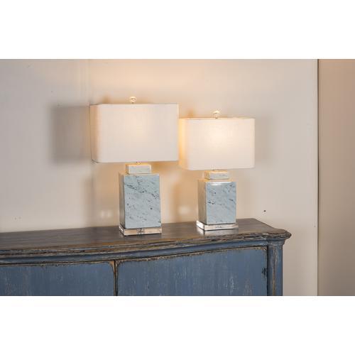 Square Jar Marbleized Porcelain Lamp,Lg