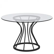 """Armen Living Zurich Round Dining Table in Black Finish and 48"""" Glass Top"""