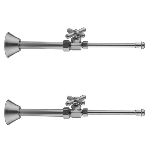 """Polished Nickel - Multi Turn Straight Pattern 5/8"""" O.D. Compression (Fits 1/2"""" Copper) x 3/8"""" O.D. Faucet Supply Kit with Cross Handle, 20"""" Supply Tubes, Cover Tube, Escutcheons"""