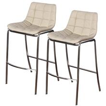LIGHT TUFTS  23in w X 41in ht X 21in d  Set of Two Ivory Bar Stools with Stainless Steel Legs