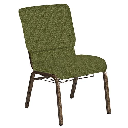 Flash Furniture - 18.5''W Church Chair in Old World Chablis Fabric with Book Rack - Gold Vein Frame