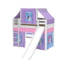 Mid Loft Panel Bed with Straight Ladder, Slide, Top Tent & Underbed Curtains : Twin : White : Panel