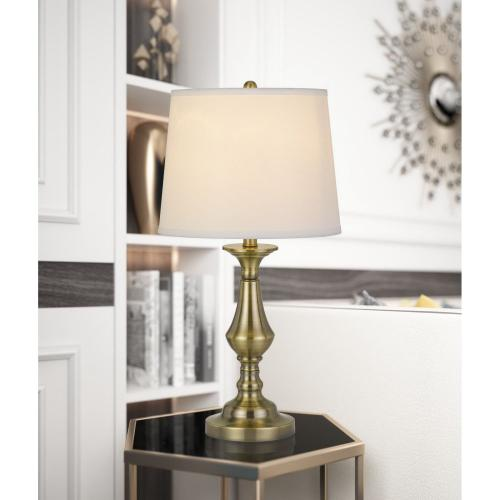 Cal Lighting & Accessories - 100W Alcoy Metal Table Lamp With Taper Drum Linen Hardack Shade (Priced And Sold As Pairs)