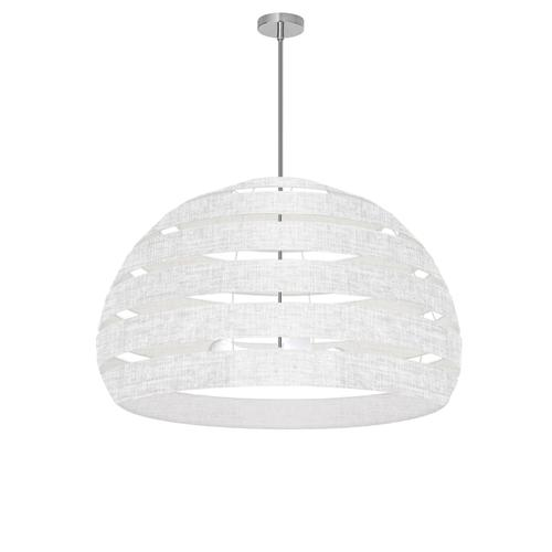4lt Chandelier Pc, Wh/clr Shade