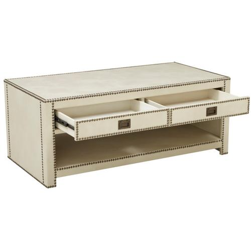 Accentrics Home - Chester Ivory Faux Leather Wrapped Trunk Style Cocktail Table
