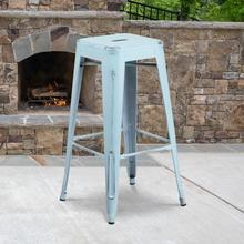 """See Details - Commercial Grade 30"""" High Backless Distressed Green-Blue Metal Indoor-Outdoor Barstool"""